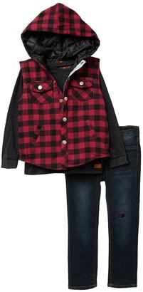 7 For All Mankind Top, Plaid Hooded Vest & Jeans Set (Toddler Boys)