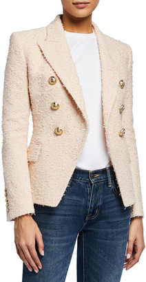 Balmain 6-Button Boucle Tweed Double-Breasted Blazer Jacket