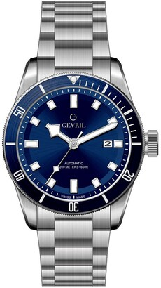 Gevril Men's Yorkville Blue Dial Stainless Steel Watch, 43mm