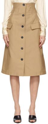 Victoria Beckham Beige Flare Skirt