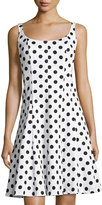 Chetta B Scoop-Neck Polka-Dot A-line Dress, White/Black