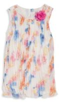 Pinc Premium Little Girl's Floral Print Pleated Shift Dress