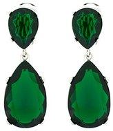Kenneth Jay Lane Emerald Crystal Teardrop Clip On Earrings