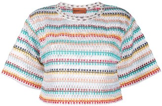 Missoni Mare striped-crochet cropped T-shirt