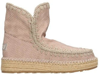 Mou Eskimo 18 Low Heels Ankle Boots In Taupe Leather