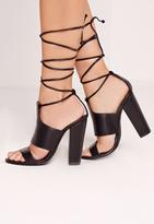 Missguided Tie Ankle Strap Block Heels Black