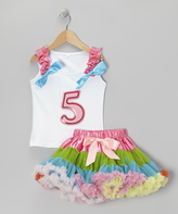 White '5' Ruffle Tank & Rainbow Pettiskirt - Girls