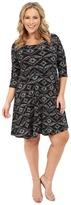 Karen Kane Plus Plus Size 3/4 Sleeve Back Keyhole Print Dress