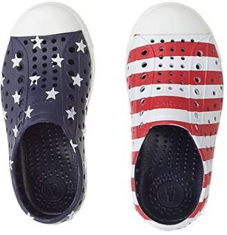 Native Jefferson Stars and Stripes Print (Toddler/Little Kid) (Regatta Blue/Shell White/Stars Stripes) Kid's Shoes