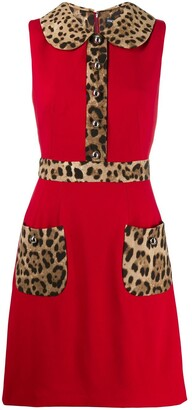 Dolce & Gabbana Leopard-Print Trim Flared Dress