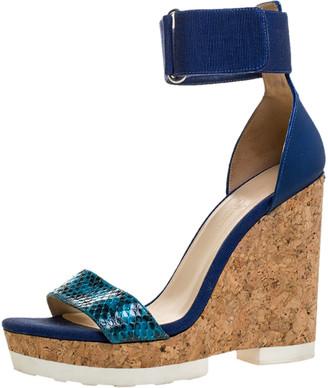 Jimmy Choo Blue Snakeskin and Leather Neston Platform Wedge Sandals Size 40.5