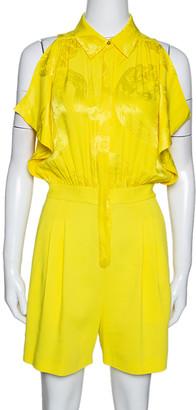 Roberto Cavalli Yellow Jacquard Silk Draped Sleeve Romper S