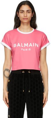 Balmain Pink and White Cropped Flocked Logo T-Shirt