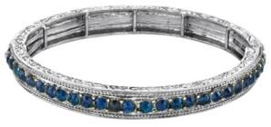 2028 Silver-Tone Sapphire Blue Color Crystal Stretch Bracelet