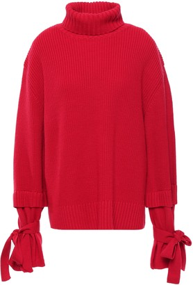 Mother of Pearl Tie-detailed Ribbed Wool-blend Turtleneck Sweater