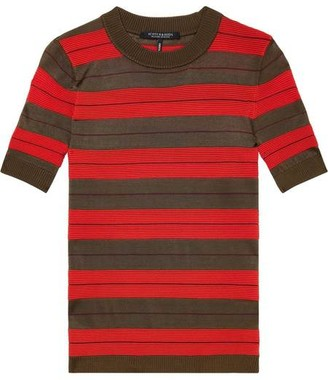 Maison Scotch Striped Short Sleeve Knitted Top - XS / 18 - Combo B - Red/Grey