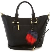 Kate Landry Shortie Satchel with Faux-Fur Pom