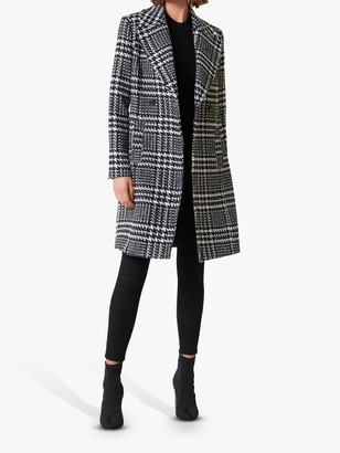 Forever New Jillian Houndstooth Coat, Black/Porcelain