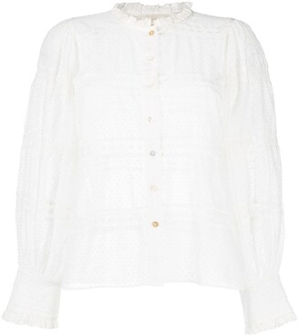 LoveShackFancy Rochelle embroidered cotton blouse