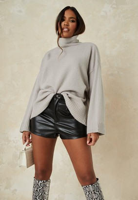 Missguided Grey Knit Roll Neck Jumper