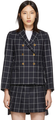 Thom Browne Navy Windowpane Shadow Check Blazer
