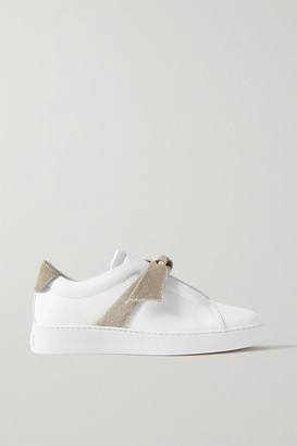 Alexandre Birman Clarita Bow-embellished Lurex-trimmed Leather Slip-on Sneakers - White