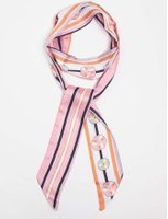 Dorothy Perkins Womens Floral And Stripe Skinny Scarf- Pink
