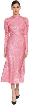 Temperley London Silk Lame Leopard Jacquard Midi Dress