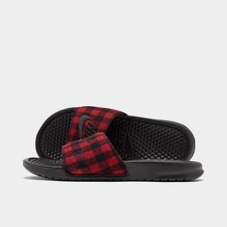 Nike Men's Benassi JDI SE Plaid Slide Sandals