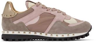 Valentino Pink Garavani Camo Rockstud Sneakers