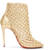 Christian Louboutin Andaloulou 100 Metallic Leather Ankle Boots - Gold