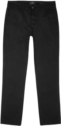 7 For All Mankind Slimmy black brushed cotton-blend chinos