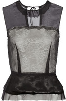 Maison Margiela Layered Silk-chiffon And Crocheted Lace Peplum Top - Black