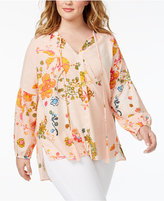 Melissa McCarthy Trendy Plus Size High-Low Peasant Top
