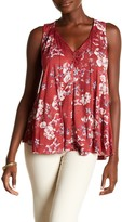 Lucky Brand Lace Trim Floral Tank Top
