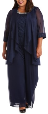 R & M Richards Plus Size 3-Pc. Jacket, Lace Top & Pants Set