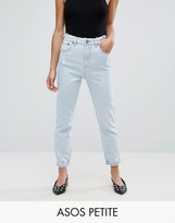Asos FARLEIGH Slim Mom Jeans in Henrietta Wash with Raw Waist and Raw Hem