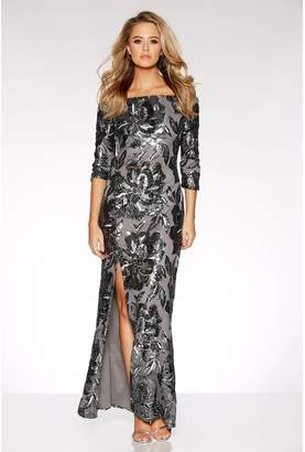 Quiz Grey Sequin Bardot Maxi Dress
