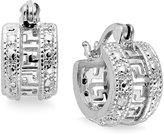 Townsend Victoria Sterling Silver Earrings, Diamond Accent Greek Key Hoop Earrings