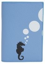 Smythson Women's Panama Seahorse Leather Passport Holder - Blue