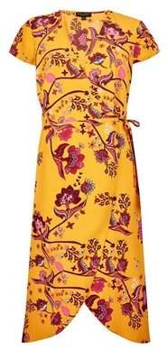 Dorothy Perkins Womens Yellow Wrap Midi Dress, Yellow