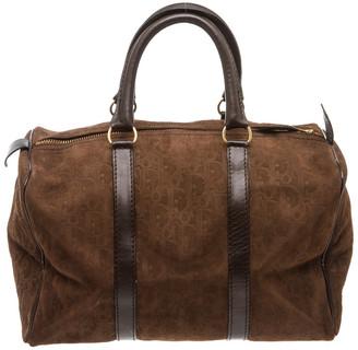 Christian Dior Brown Nubuck Leather Trotter Boston Bag