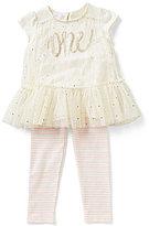 Mud Pie Baby Girls 12-18 Months Metallic-Dot Birthday One Ruffle Tunic & Striped Leggings Set