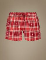 Marks and Spencer Cotton Rich Checked Pyjama Shorts