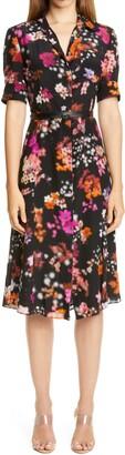 Altuzarra Belted Floral Print Silk Shirtdress