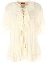 Rene Derhy Short-Sleeved Blouse with Gold Edging