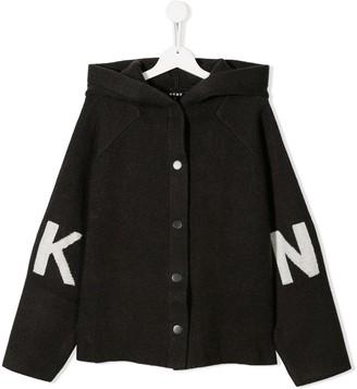 DKNY TEEN jacquard logo hooded jacket