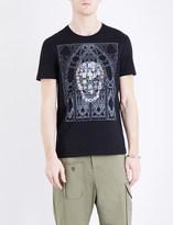 Alexander McQueen Stained glass skull cotton t-shirt
