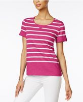 Karen Scott Striped Active Cotton T-Shirt, Only at Macy's