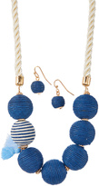 Blue Thread Ball Necklace & Drop Earrings